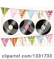 3d Music Vinyl Records With Patterned Bunting Flags Over Pastel Pink