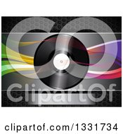 Clipart Of A 3d Music Vinyl Record With Mesh And Colorful Waves Over Metal With A Plaque Royalty Free Vector Illustration