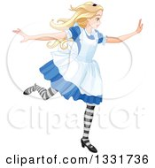 Clipart Of Alice In Wonderland Running Royalty Free Vector Illustration by Pushkin
