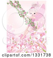 Clipart Of A Happy Pink Fairy Pixie On A Swing With Rose Vines Over Blossoms Royalty Free Vector Illustration