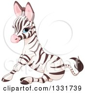 Clipart Of A Cute Blue Eyed Baby Zebra Sitting Royalty Free Vector Illustration by Pushkin