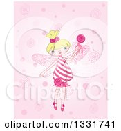 Clipart Of A Cartoon Blond White Candy Fairy Holding Up A Loly Pop Royalty Free Vector Illustration