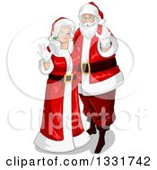 Clipart Of A Christmas Santa And Mrs Claus Waving Royalty Free Vector Illustration