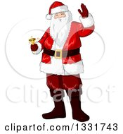 Clipart Of A Christmas Santa Claus Waving And Ringing A Bell Royalty Free Vector Illustration by Liron Peer