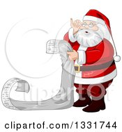 Clipart Of A Christmas Santa Claus Adjusting His Glasses And Reading A Long List Royalty Free Vector Illustration by Liron Peer