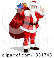 Clipart Of A Christmas Santa Claus Giving A Thumb Up And Carrying A Sack Royalty Free Vector Illustration