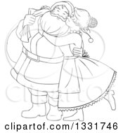 Clipart Of A Black And White Christmas Santa Claus Waving And Ringing A Bell Royalty Free Vector Illustration by Liron Peer