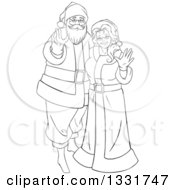 Clipart Of A Black And White Christmas Santa And Mrs Claus Waving Royalty Free Vector Illustration by Liron Peer