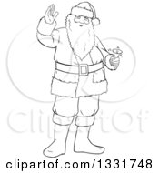 Black And White Lineart Christmas Santa Claus Waving And Ringing A Bell