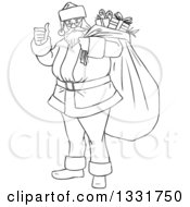 Clipart Of A Black And White Christmas Santa Claus Giving A Thumb Up And Carrying A Sack Royalty Free Vector Illustration by Liron Peer