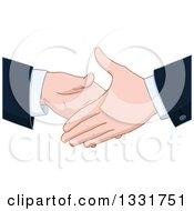 Poster, Art Print Of Cartoon Caucasian Business Men About To Shake Hands