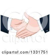 Clipart Of Cartoon Caucasian Business Men About To Shake Hands Royalty Free Vector Illustration