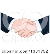 Clipart Of Cartoon Caucasian Business Men Shaking Hands Royalty Free Vector Illustration