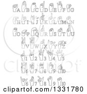 Clipart Of Cartoon Black And White Alphabet Sign Language Hands And Numbers Royalty Free Vector Illustration