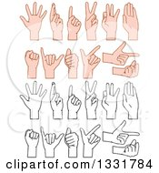 Clipart Of Cartoon Black And White And Caucasian Hands Gesturing Royalty Free Vector Illustration by Liron Peer
