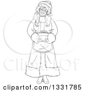Clipart Of A Black And White Happy Christmas Mrs Claus Holding A Gift Royalty Free Vector Illustration by Liron Peer