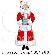 Clipart Of A Happy Christmas Mrs Claus Holding A Gift Royalty Free Vector Illustration by Liron Peer
