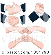 Clipart Of Cartoon Caucasian Business Men Hands Shaking Arm Wrestling And Fist Bumping Royalty Free Vector Illustration