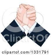 Clipart Of Caucasian Business Men Hands Arm Wrestling Royalty Free Vector Illustration