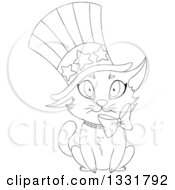 Clipart Of A Black And White Lineart Cute Independence Day Patriotic Cat Wearing An American Top Hat Royalty Free Vector Illustration