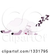 Clipart Of A Purple Sheep Sleeping Royalty Free Vector Illustration