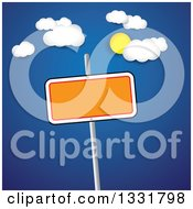 Clipart Of A Blank Orange Sign On A Post Over A Blue Sky With The Sun And Clouds Royalty Free Vector Illustration