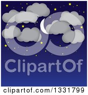 Clipart Of A Blue Night Sky Background With A Crescent Moon Stars And Clouds Over Text Space Royalty Free Vector Illustration