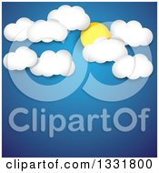 Clipart Of A Blue Sky Background With The Sun And Clouds Over Text Space Royalty Free Vector Illustration