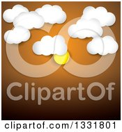 Clipart Of An Orange Sunset Sky Background With The Sun And Clouds Over Text Space Royalty Free Vector Illustration