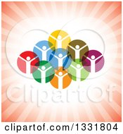 Clipart Of A Unity Team Of Cheering People In Colorful Circles Over Red Rays Royalty Free Vector Illustration