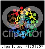Clipart Of A Unity Team Circle Of Cheering Colorful People Spiraling Over Black Royalty Free Vector Illustration