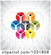 Clipart Of A Unity Team Of Cheering People In Colorful Circles Over Gray Rays Royalty Free Vector Illustration