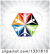 Clipart Of A Unity Team Hexagon Of Cheering People On Colorful Triangles Over Gray Rays Royalty Free Vector Illustration