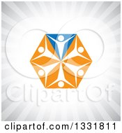 Clipart Of A Unity Team Hexagon Of Cheering White People On Blue And Orange Triangles Over Gray Rays Royalty Free Vector Illustration