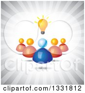 Clipart Of A Blue Hand Holding A Creative Idea Light Bulb Over Blue Rays Royalty Free Vector Illustration