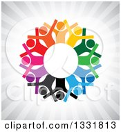 Clipart Of A Unity Team Circle Of Cheering Colorful People Around White Over Gray Rays Royalty Free Vector Illustration