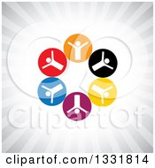 Clipart Of A Unity Team Circle Of Cheering White People In Colorful Circles Over Gray Rays Royalty Free Vector Illustration