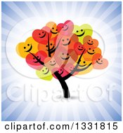Clipart Of A Tree With Happy Heart Foliage Over Blue Rays Royalty Free Vector Illustration