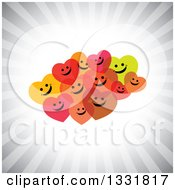 Clipart Of A Cluster Of Hapy Hearts Smiling Over A Burst Of Gray Rays Royalty Free Vector Illustration