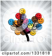 Clipart Of A Tree With Happy Colorful Smiley Face Emoticon Foliage Over Ray Rays Royalty Free Vector Illustration by ColorMagic