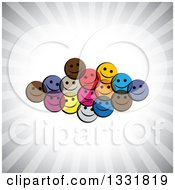 Clipart Of A Cluster Of Colorful Happy Smiley Emoticon Faces Over A Burst Of Gray Rays Royalty Free Vector Illustration by ColorMagic