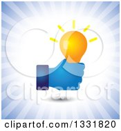 Clipart Of A Blue Hand Holding A Creative Idea Light Bulb Over Blue Rays Royalty Free Vector Illustration by ColorMagic