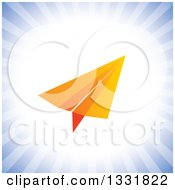 Clipart Of An Orange Paper Plane Over A Burst Of Blue Rays Royalty Free Vector Illustration