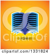 Clipart Of A Blue Open Book Floating Over Orange Royalty Free Vector Illustration by ColorMagic
