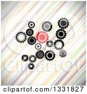 Clipart Of A Cluster Of Black Gray And Red Gears Over Diagonal Colorful Stripes Royalty Free Vector Illustration