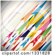 Clipart Of A Background Of Colorful Diagonal Stripes And Arrows Royalty Free Vector Illustration by ColorMagic