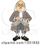 Cartoon Benjamin Franklin Using A Calculator