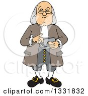 Clipart Of A Cartoon Benjamin Franklin Using A Calculator Royalty Free Vector Illustration by djart