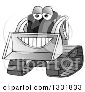 Clipart Of A Grayscale Happy Smiling Bobcat Machine Character Royalty Free Illustration by djart
