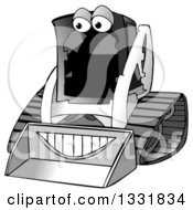 Clipart Of A Grayscale Happy Bobcat Machine Character Royalty Free Illustration by djart